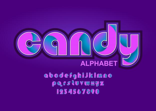 Lettering alfabeto, font candy con colori teneri rosa e viola