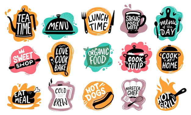 Lettering alimentare. dolci da forno, badge hot dog e set di logo di alimenti biologici