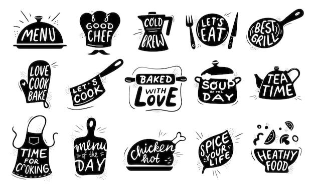 Lettering alimentare in cucina. distintivo di cottura gastronomica degli alimenti, ricette di pollo cucinare e insieme dell'illustrazione delle lettere del menu del ristorante