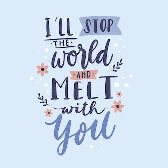 Lettering amore romantico