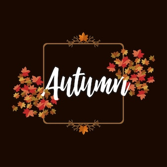 Lettering autunno con sfondo di foglia d'acero