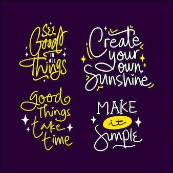 Lettering citazione citazione insieme motivazionale