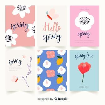 Lettering collezione di carte primaverili