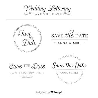 Lettering collezione di nozze