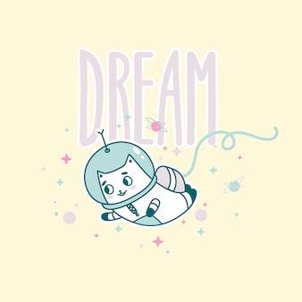 Lettering da sogno con divertente gatto astronauta