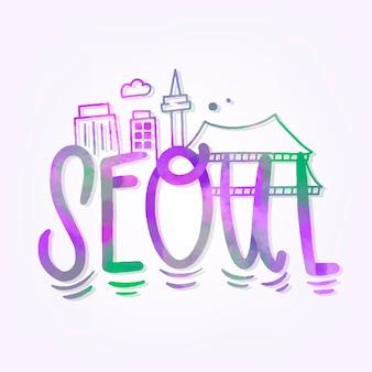 Lettering della città di seoul