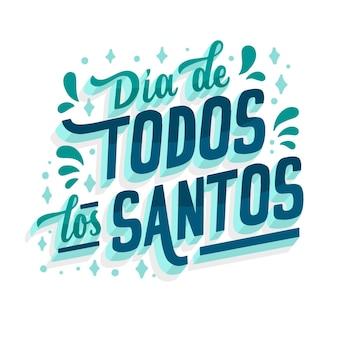 Lettering della cultura spagnola di tutti i santi