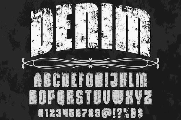 Lettering denim di design di etichette artigianali
