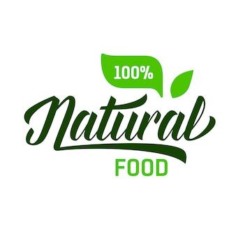 Lettering di alimenti naturali con percentuale