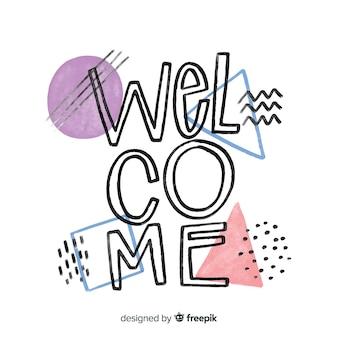 Lettering di benvenuto in stile memphis