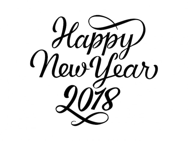 Lettering di happy new year 2018