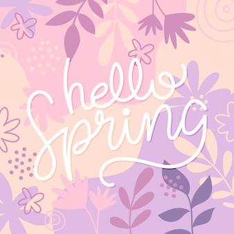 Lettering di primavera con fiori colorati disegnati
