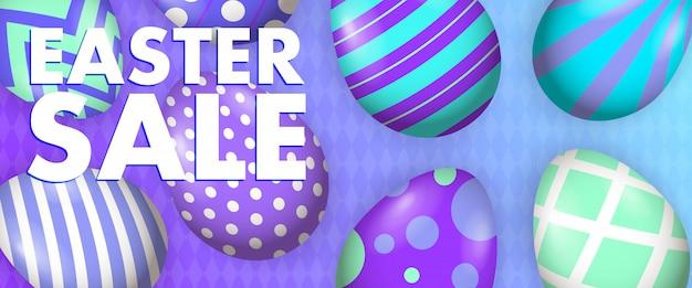 Lettering di vendita di pasqua con uova decorate