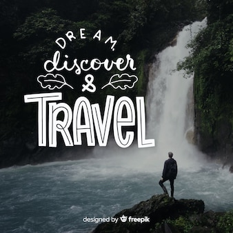 Lettering di viaggio con citazione e immagine
