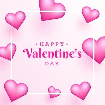 Lettering elegante di san valentino felice su sfondo rosa de