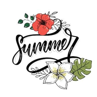 Lettering estate con fiori e foglie
