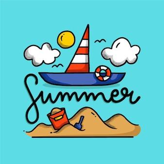Lettering estivo con barca illustrata e sabbia