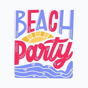 Lettering estivo con festa in spiaggia