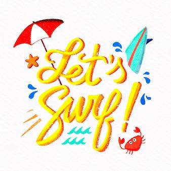 Lettering estivo con ombrellone e tavola da surf