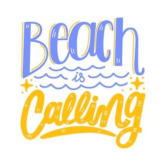 Lettering estivo con spiaggia