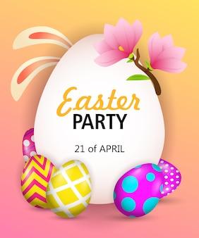 Lettering festa di pasqua con orecchie da coniglio, uova e fiori
