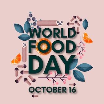 Lettering giornata mondiale dell'alimentazione. 16 ottobre
