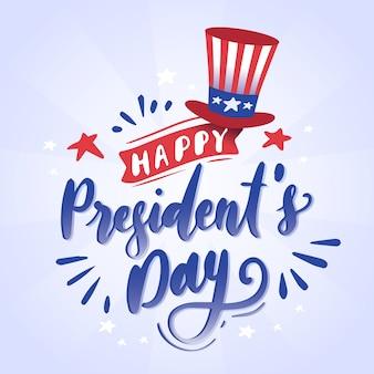Lettering giorno dei presidenti con cappello