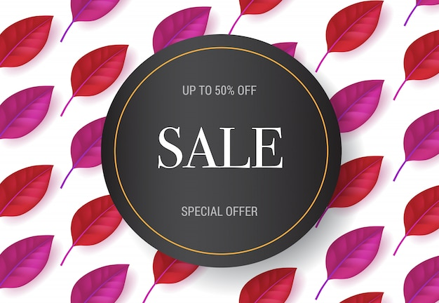 Lettering in vendita con motivo a foglie rosse e viola. offerta autunnale o pubblicità pubblicitaria