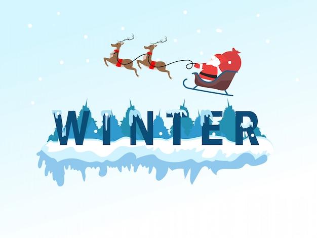 Lettering inverno con babbo natale