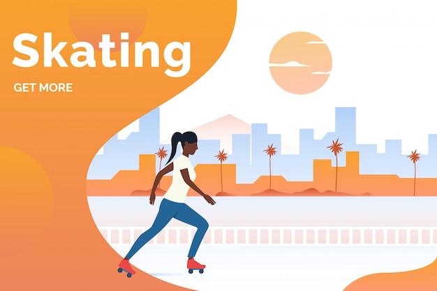 Lettering pattinante, donna skater nero nel parco
