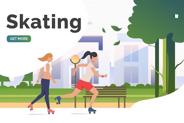 Lettering pattinante, donne skater nel parco con edifici distanti