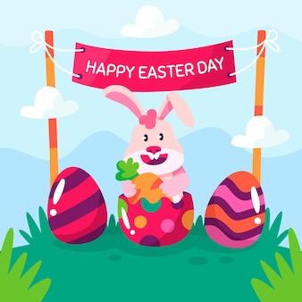 Lettering piatto giorno di pasqua con coniglio carino