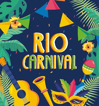 Lettering rio carnival party con rami foglie e fiori