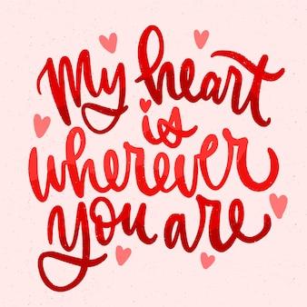 Lettering romantico con cuori
