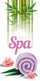 Lettering salone spa, bambù, asciugamano e rose. manifesto pubblicitario del salone della stazione termale