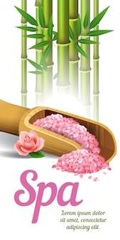 Lettering spa, bambù e sale in scoop. manifesto pubblicitario del salone della stazione termale