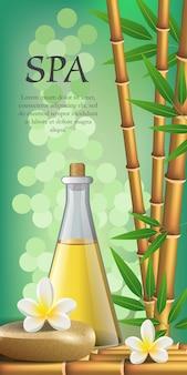 Lettering spa, fiori, bambù, pietra e bottiglia. manifesto pubblicitario del salone della stazione termale
