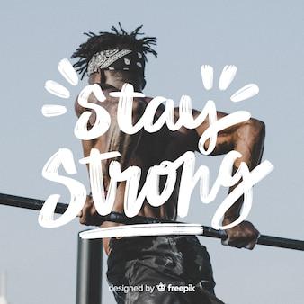 Lettering sportivo motivazionale con foto