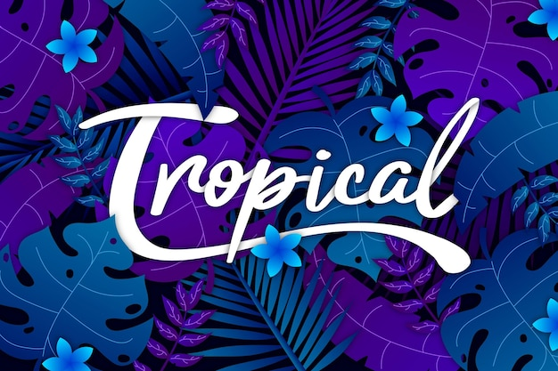 Lettering tropicale con foglie e fiori