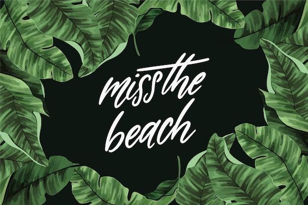 Lettering tropicale con foglie e spiaggia