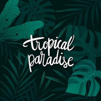 Lettering tropicale con foglie