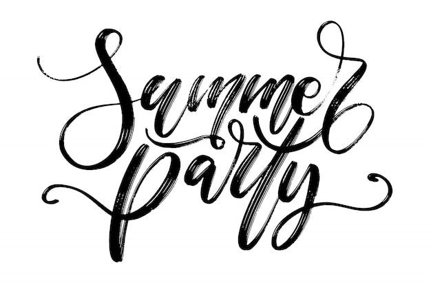 Lettering vettoriale disegnato a mano. parole di festa di estate a mano.