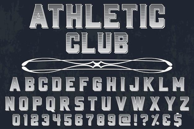 Lettering vintage set con club atletico di parola