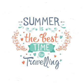 Lettering vintage su vacanze estive, viaggi
