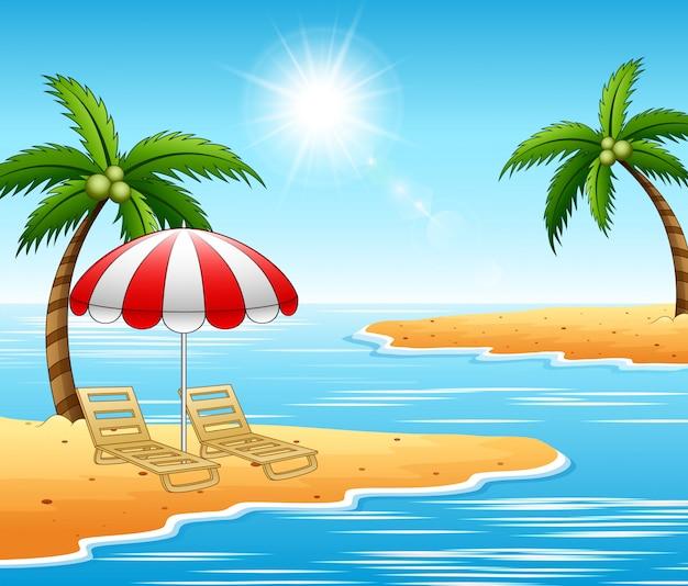 Lettini per le vacanze estive sul bellissimo paesaggio marino