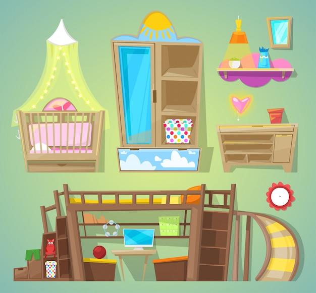 Letto della mobilia dei bambini della stanza dei giochi nell'interno ammobiliato dell'insieme dell'illustrazione del babyroom di progettazione dell'arredamento per la stanza dei bambini a casa isolata su fondo