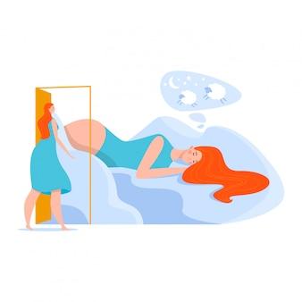 Letto donna, problema di insonnia, svegliato nel pensiero, pasticcio, notte agitata, isolato su bianco, design, illustrazione stile piatto.
