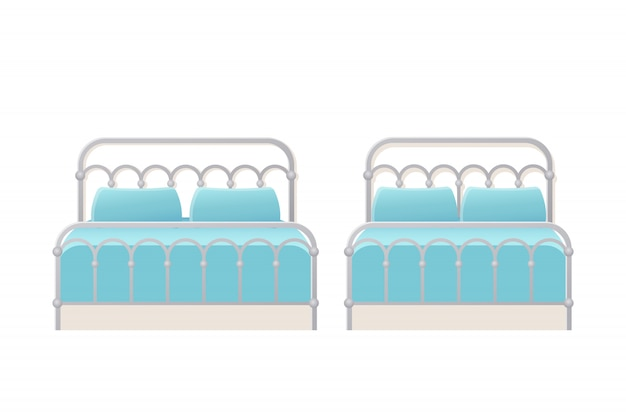 Letto. . doppi letti singoli in metallo in appartamento per camera da letto, camera d'albergo. insieme del fumetto isolato icona di mobili. attrezzatura domestica animata.