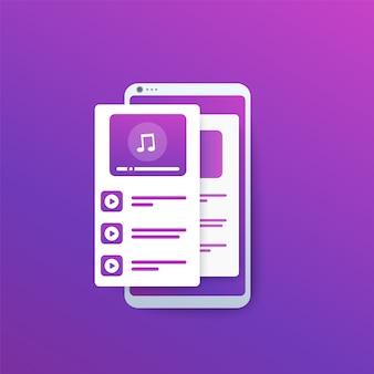 Lettore audio, app di streaming musicale sullo schermo del telefono,