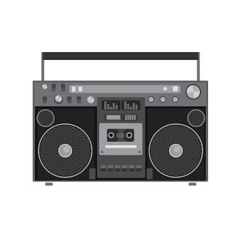 Lettore audio retrò in un'illustrazione di design piatto